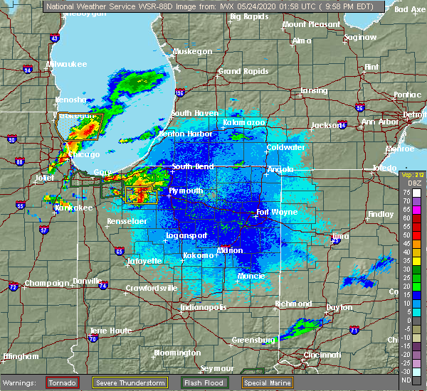 Radar Image for Severe Thunderstorms near Hamlet, IN at 5/23/2020 9:03 PM CDT
