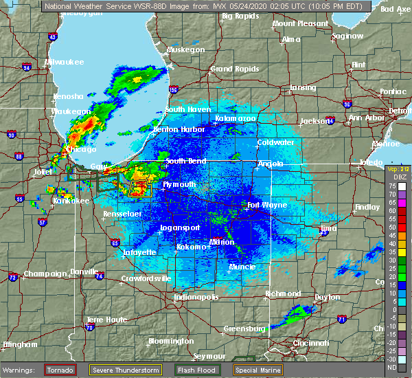 Radar Image for Severe Thunderstorms near Lakeville, IN at 5/23/2020 10:17 PM EDT