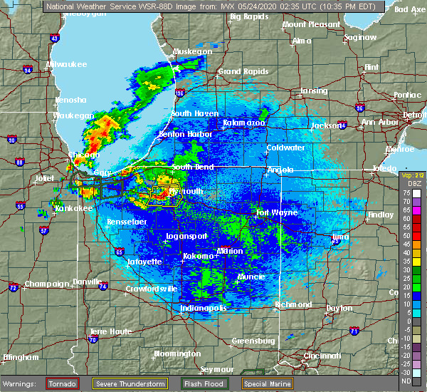 Radar Image for Severe Thunderstorms near Plymouth, IN at 5/23/2020 10:39 PM EDT