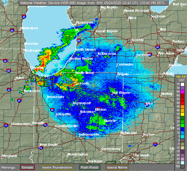 Radar Image for Severe Thunderstorms near Plymouth, IN at 5/23/2020 10:58 PM EDT