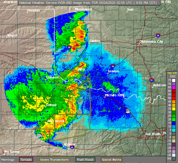 Radar Image for Severe Thunderstorms near Blair, OK at 5/23/2020 9:59 PM CDT