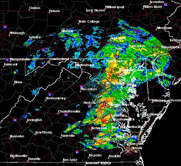 Radar Image for Severe Thunderstorms near Dahlgren, VA at 6/27/2015 4:19 PM EDT