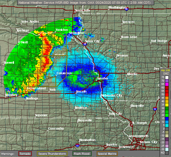 Radar Image for Severe Thunderstorms near Clarks, NE at 5/24/2020 3:03 AM CDT
