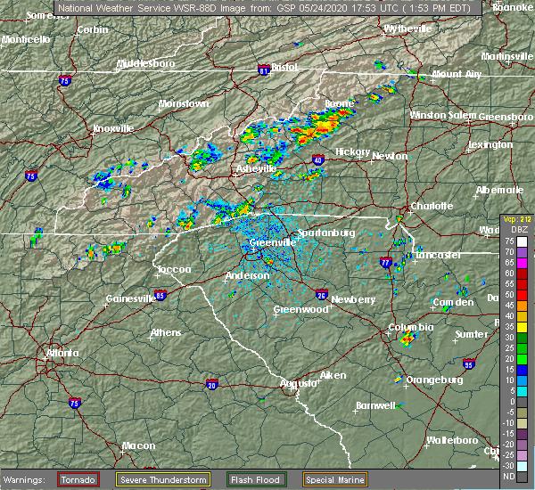 Radar Image for Severe Thunderstorms near Edneyville, NC at 5/24/2020 1:59 PM EDT
