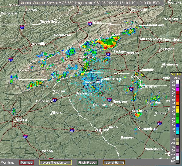 Radar Image for Severe Thunderstorms near Edneyville, NC at 5/24/2020 2:28 PM EDT