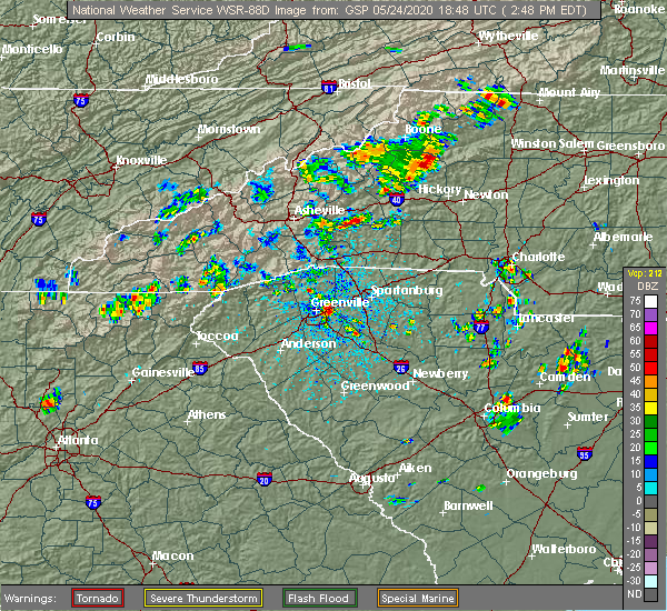 Radar Image for Severe Thunderstorms near Bethlehem, NC at 5/24/2020 2:51 PM EDT