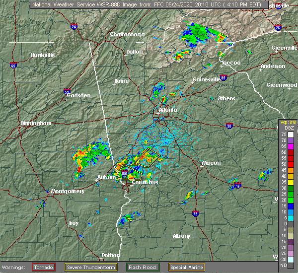 Radar Image for Severe Thunderstorms near Molena, GA at 5/24/2020 4:14 PM EDT