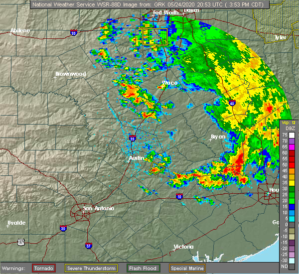 Radar Image for Severe Thunderstorms near McDade, TX at 5/24/2020 3:56 PM CDT