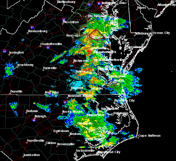 Radar Image for Severe Thunderstorms near Charles City, VA at 6/27/2015 4:38 PM EDT