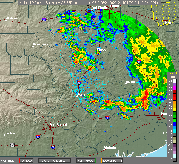 Radar Image for Severe Thunderstorms near Giddings, TX at 5/24/2020 4:15 PM CDT