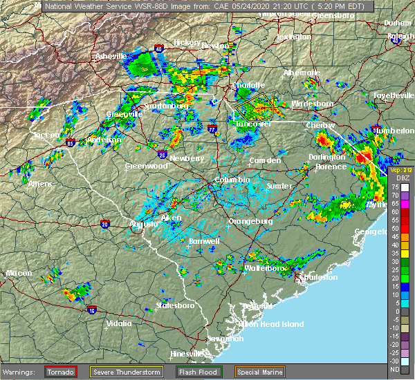 Radar Image for Severe Thunderstorms near Mineral Springs, NC at 5/24/2020 5:27 PM EDT