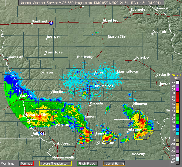 Radar Image for Severe Thunderstorms near Pulaski, IA at 5/24/2020 4:38 PM CDT