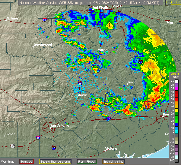 Radar Image for Severe Thunderstorms near Giddings, TX at 5/24/2020 4:43 PM CDT