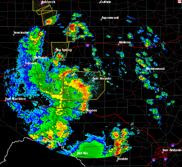 Radar Image for Severe Thunderstorms near Sterling City, TX at 5/24/2020 6:36 PM CDT