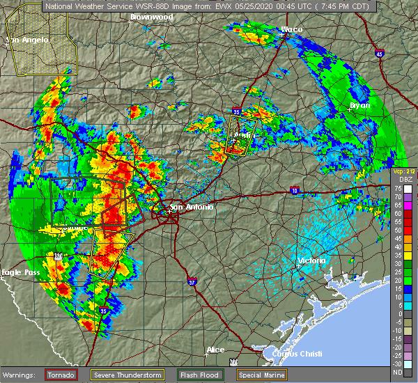 Radar Image for Severe Thunderstorms near Shavano Park, TX at 5/24/2020 8:07 PM CDT