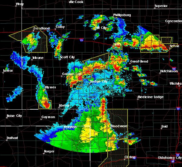 Radar Image for Severe Thunderstorms near Kismet, KS at 5/24/2020 9:40 PM CDT