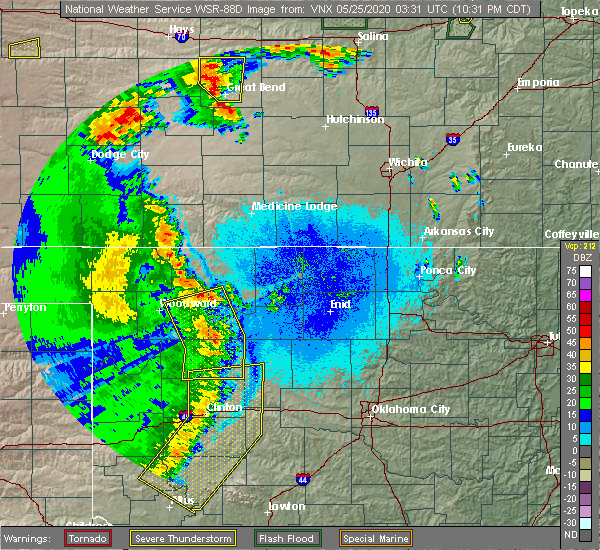 Radar Image for Severe Thunderstorms near Cleo Springs, OK at 5/24/2020 10:37 PM CDT
