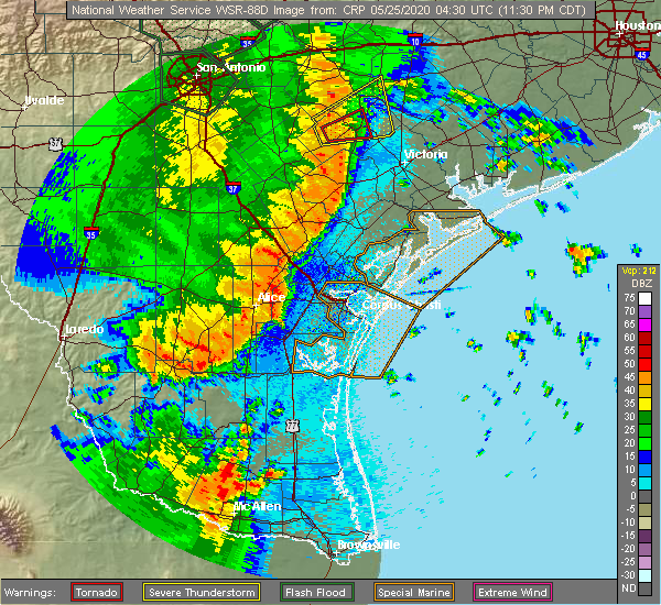Radar Image for Severe Thunderstorms near Portland, TX at 5/24/2020 11:39 PM CDT