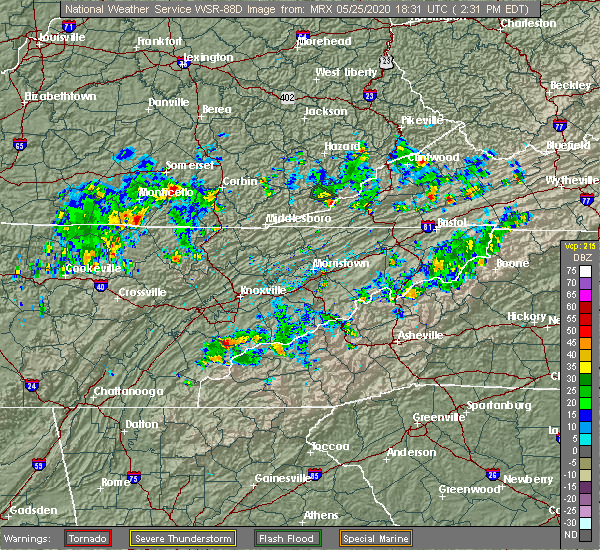 Radar Image for Severe Thunderstorms near Vonore, TN at 5/25/2020 2:38 PM EDT