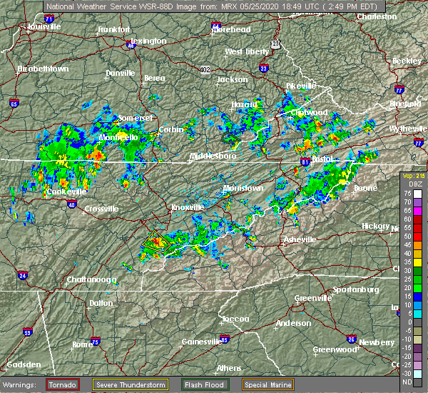 Radar Image for Severe Thunderstorms near Vonore, TN at 5/25/2020 2:54 PM EDT