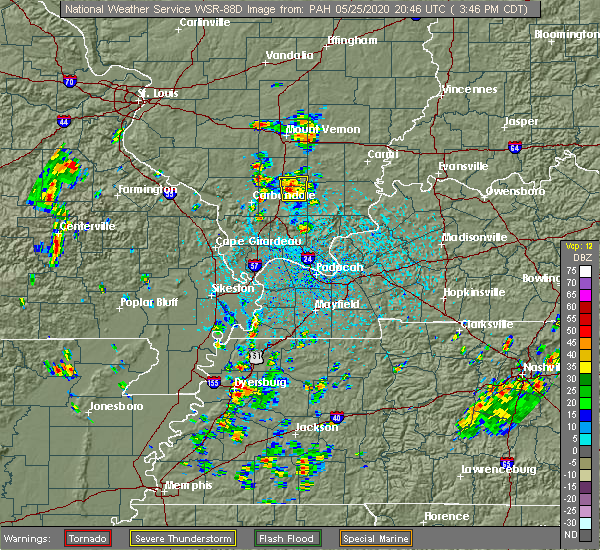 Radar Image for Severe Thunderstorms near West Frankfort, IL at 5/25/2020 3:50 PM CDT