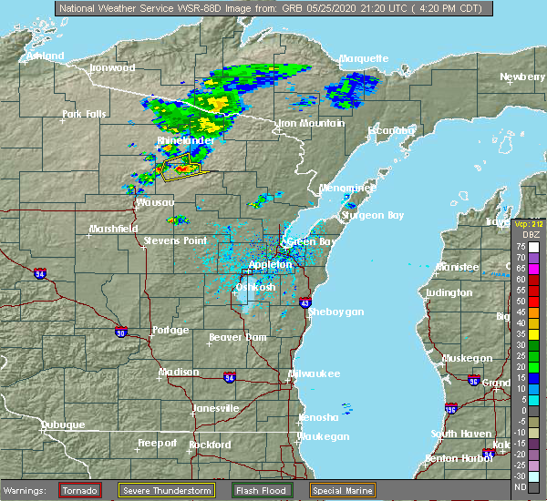 Radar Image for Severe Thunderstorms near Summit Lake, WI at 5/25/2020 4:25 PM CDT