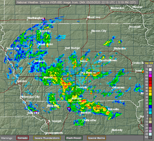 Radar Image for Severe Thunderstorms near Melbourne, IA at 5/25/2020 5:27 PM CDT