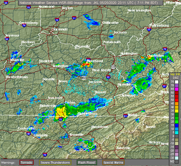 Radar Image for Severe Thunderstorms near Morehead, KY at 5/25/2020 7:16 PM EDT