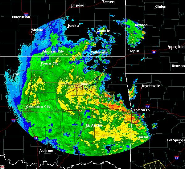 Radar Image for Severe Thunderstorms near Gideon, OK at 5/25/2020 6:29 PM CDT