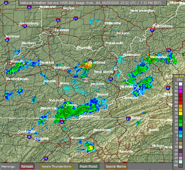 Radar Image for Severe Thunderstorms near Morehead, KY at 5/25/2020 7:37 PM EDT