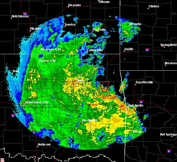 Radar Image for Severe Thunderstorms near Gideon, OK at 5/25/2020 6:39 PM CDT