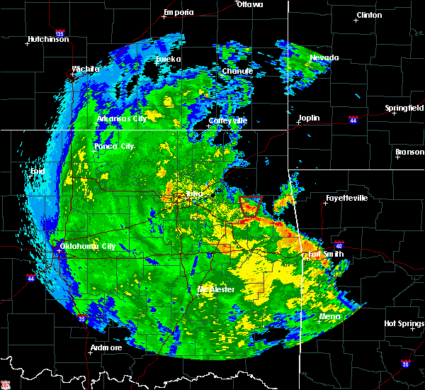 Radar Image for Severe Thunderstorms near Gideon, OK at 5/25/2020 7:06 PM CDT