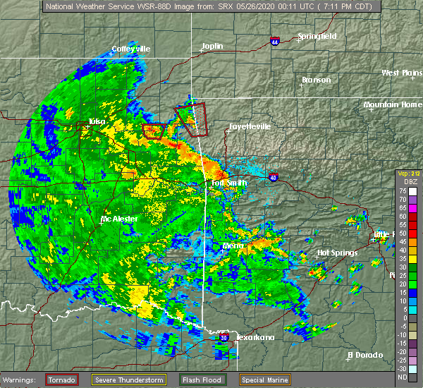 Radar Image for Severe Thunderstorms near Flint Creek, OK at 5/25/2020 7:14 PM CDT
