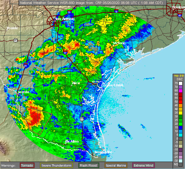 Radar Image for Severe Thunderstorms near Falcon Heights, TX at 5/26/2020 1:16 AM CDT