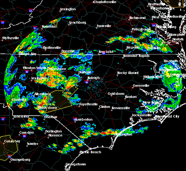 Radar Image for Severe Thunderstorms near Pinehurst, NC at 6/27/2015 6:13 PM EDT