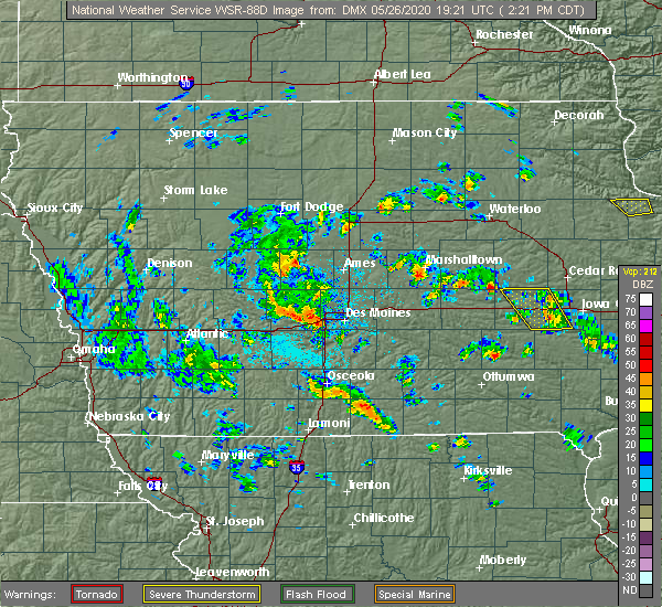 Radar Image for Severe Thunderstorms near Fraser, IA at 5/26/2020 2:28 PM CDT