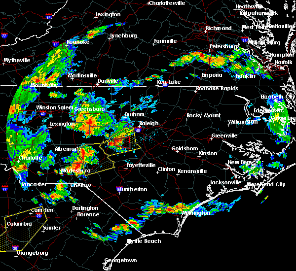 Radar Image for Severe Thunderstorms near Pinehurst, NC at 6/27/2015 6:37 PM EDT