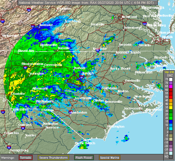 Radar Image for Severe Thunderstorms near Apex, NC at 5/27/2020 4:58 PM EDT