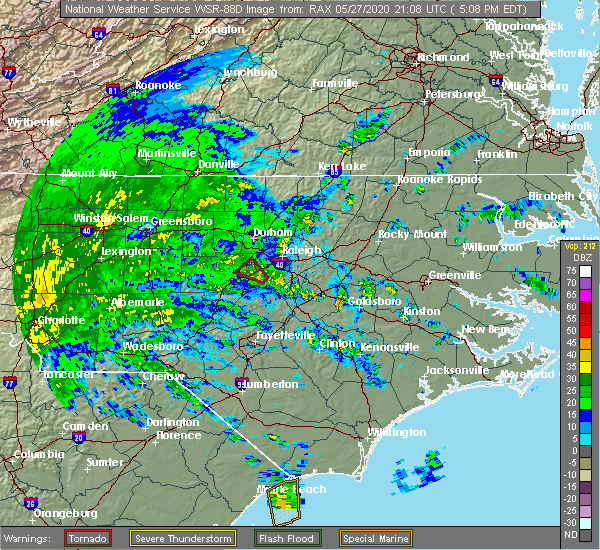 Radar Image for Severe Thunderstorms near Apex, NC at 5/27/2020 5:11 PM EDT