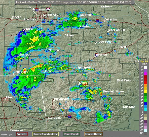 Radar Image for Severe Thunderstorms near Taneyville, MO at 5/27/2020 6:08 PM CDT
