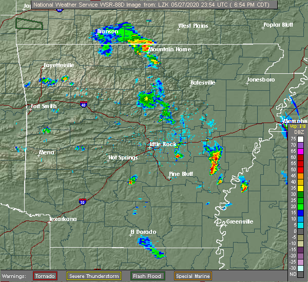 Radar Image for Severe Thunderstorms near Holly Grove, AR at 5/27/2020 7:03 PM CDT