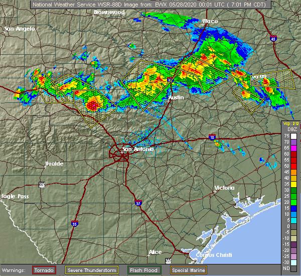 Radar Image for Severe Thunderstorms near Fredericksburg, TX at 5/27/2020 7:04 PM CDT