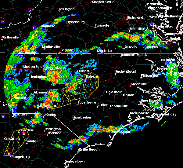Radar Image for Severe Thunderstorms near Sanford, NC at 6/27/2015 7:00 PM EDT
