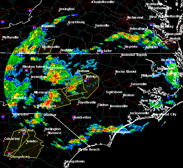 Radar Image for Severe Thunderstorms near Pinehurst, NC at 6/27/2015 7:03 PM EDT