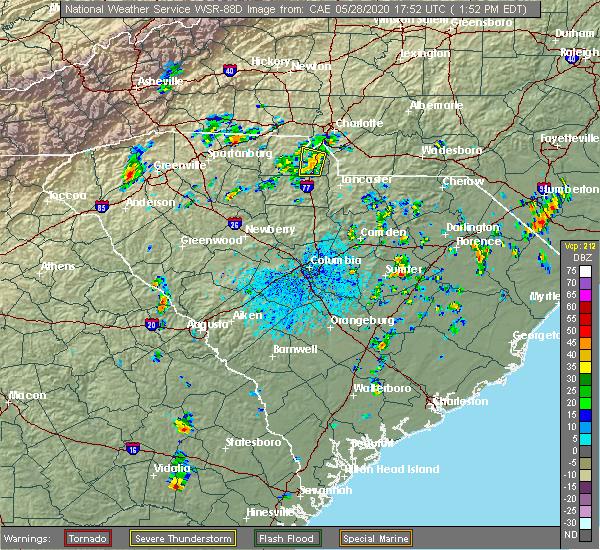 Radar Image for Severe Thunderstorms near Lesslie, SC at 5/28/2020 1:56 PM EDT