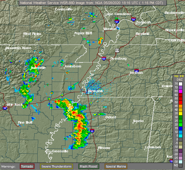 Radar Image for Severe Thunderstorms near Senatobia, MS at 5/28/2020 1:18 PM CDT
