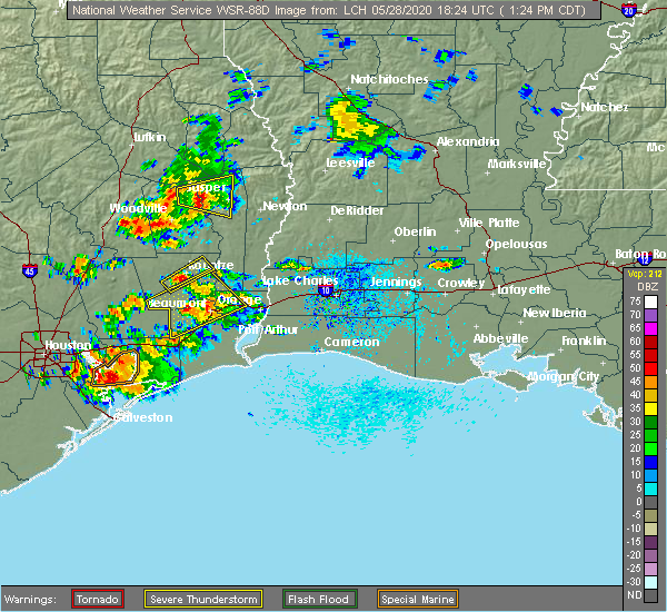 Radar Image for Severe Thunderstorms near Vidor, TX at 5/28/2020 1:32 PM CDT