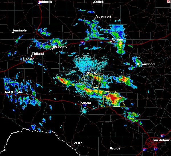 Radar Image for Severe Thunderstorms near Menard, TX at 5/28/2020 2:03 PM CDT