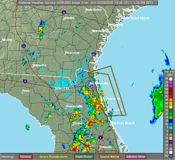 Radar Image for Severe Thunderstorms near Flagler Estates, FL at 5/28/2020 3:32 PM EDT