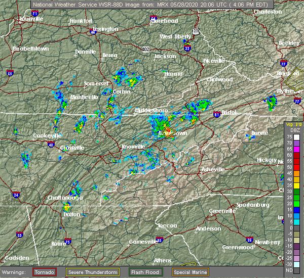 Radar Image for Severe Thunderstorms near Mosheim, TN at 5/28/2020 4:07 PM EDT